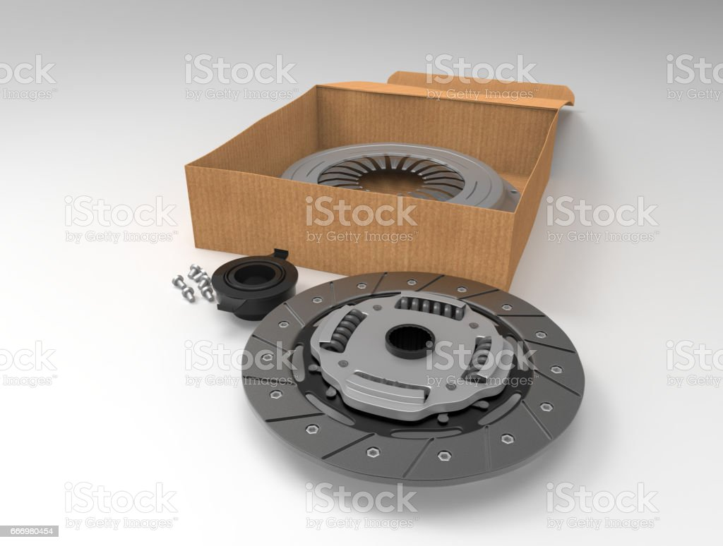Clutch disc car on white background. Box for set of clutch. 3D rendering. stock photo