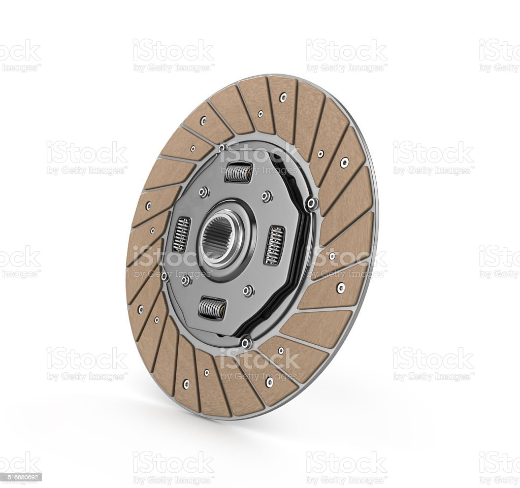 Clutch disc car on white background (done in 3d) stock photo