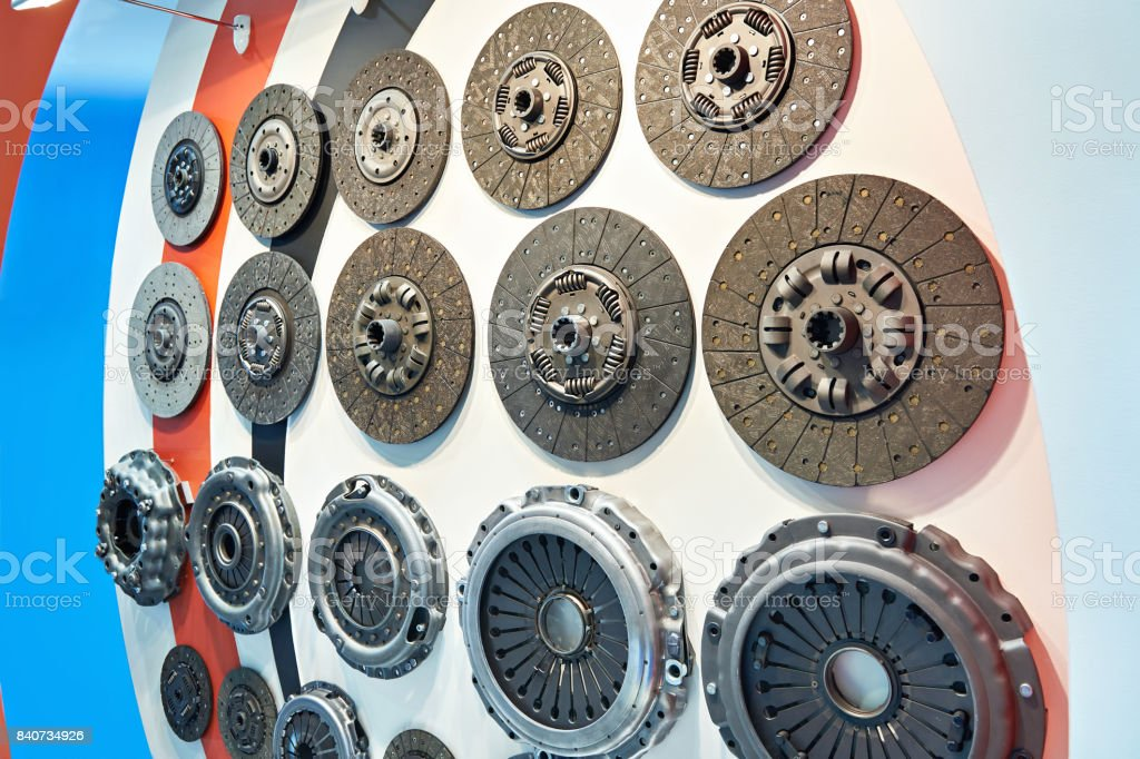 Clutch discs and pressure plates in car store stock photo