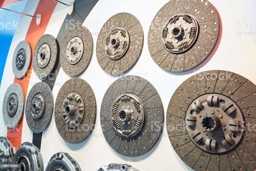 Clutch discs in car store stock photo
