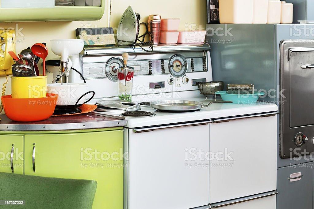 Cluttered 1950s Era Kitchen stock photo