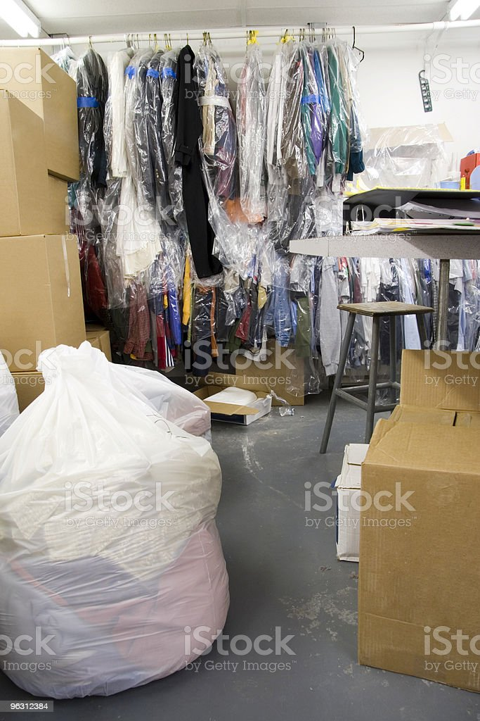Cluttered Laundry Room stock photo