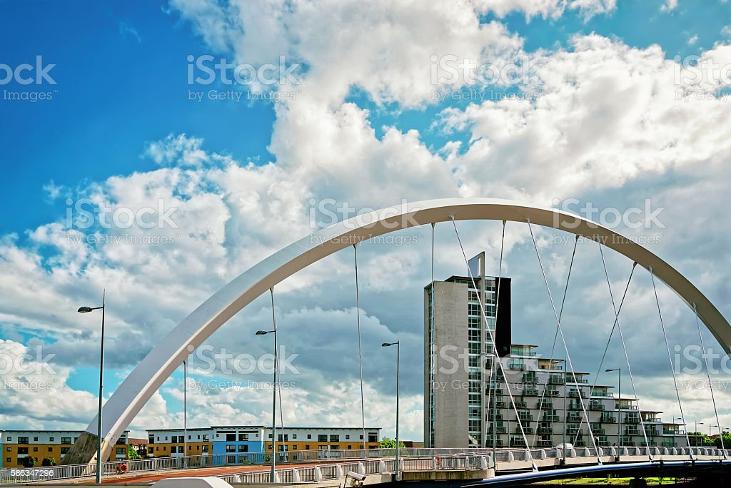 Clyde Arc over Clyde River in Glasgow stock photo