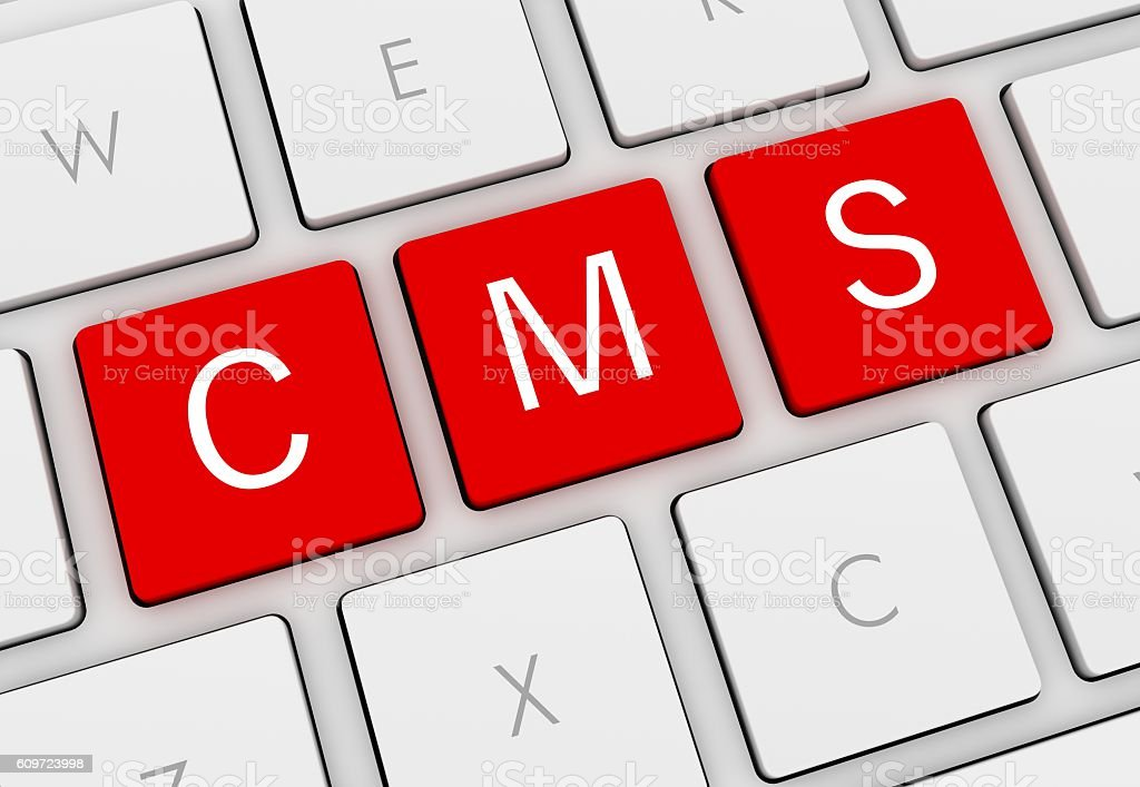 cms keyboard concept illustration stock photo