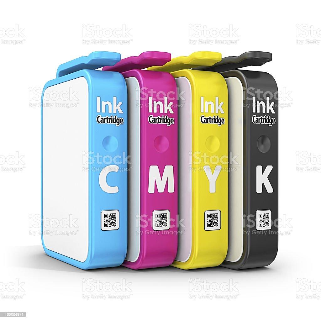 cmyk ink cartridge stock photo