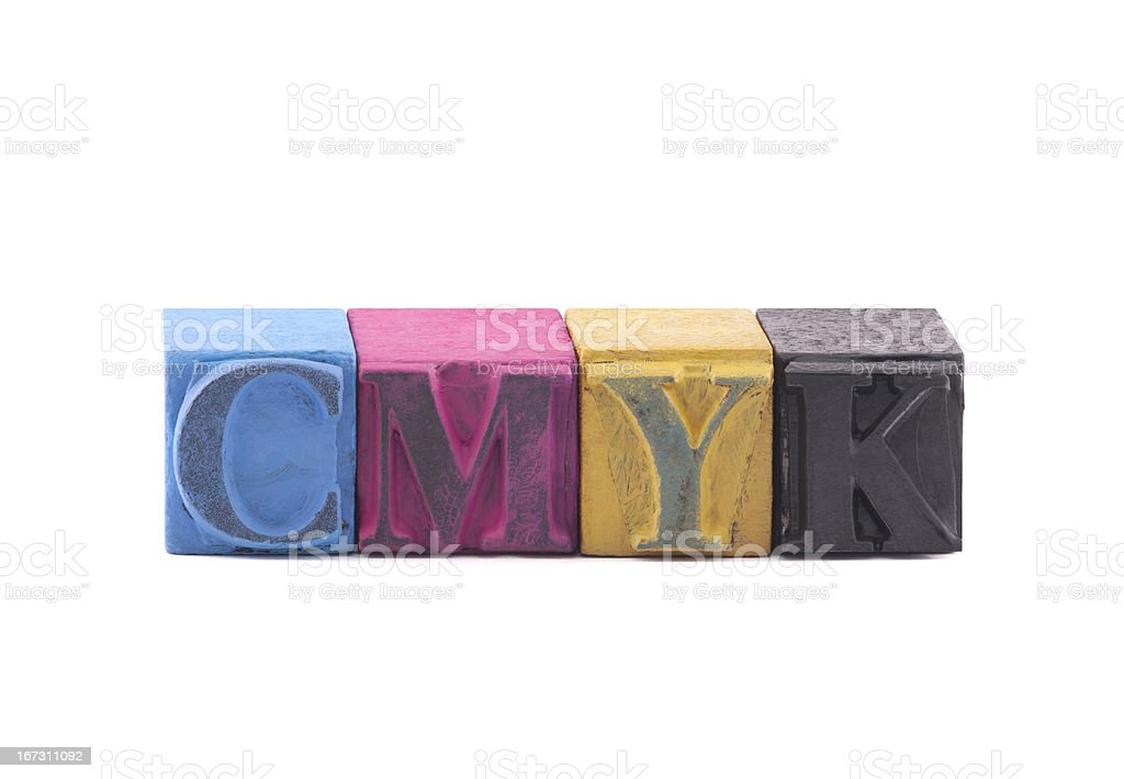 Cmyk made from old letterpress blocks royalty-free stock photo