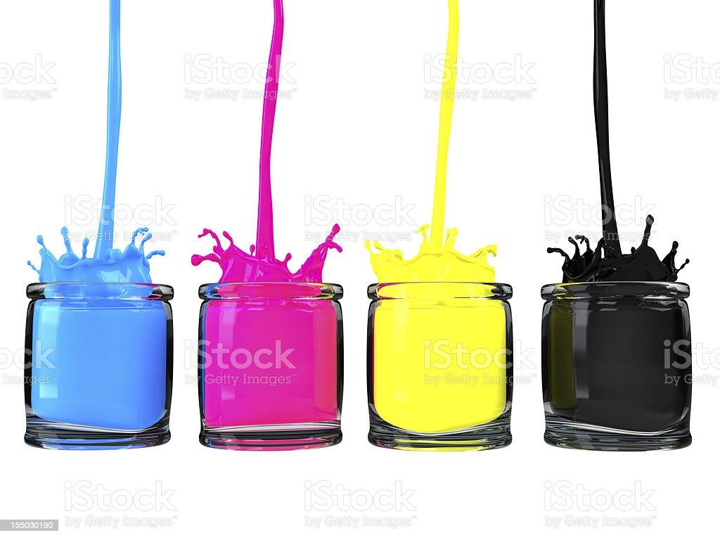 cmyk paint vessel stock photo