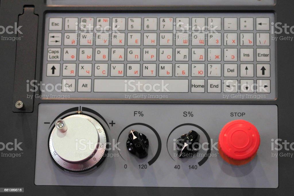 cnc control panel close up stock photo