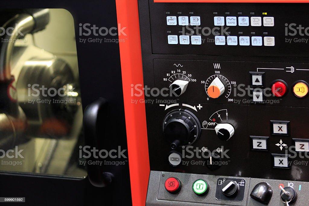 cnc lathe machine stock photo
