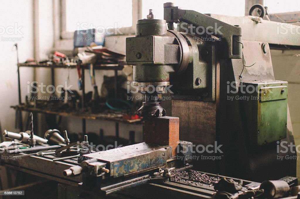 Cnc lathe workspace stock photo