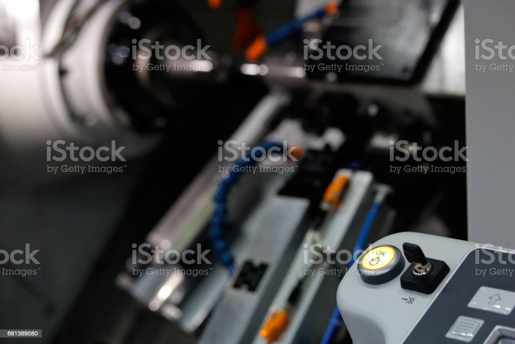 cnc turning lathe machine stock photo