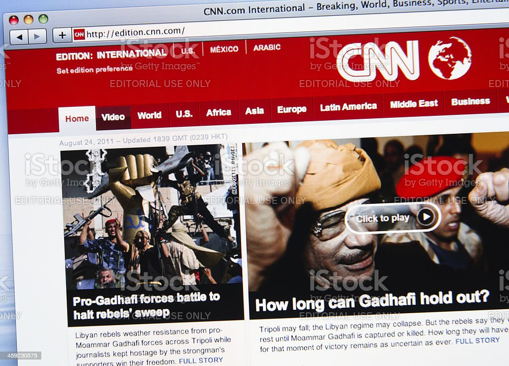 CNN.com mainpage show news about the rebellion war in Libya stock photo