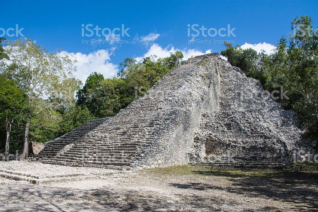 Coab Ixmoja pyramid stock photo