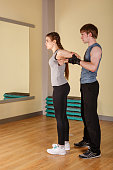 Coach and a girl stretching