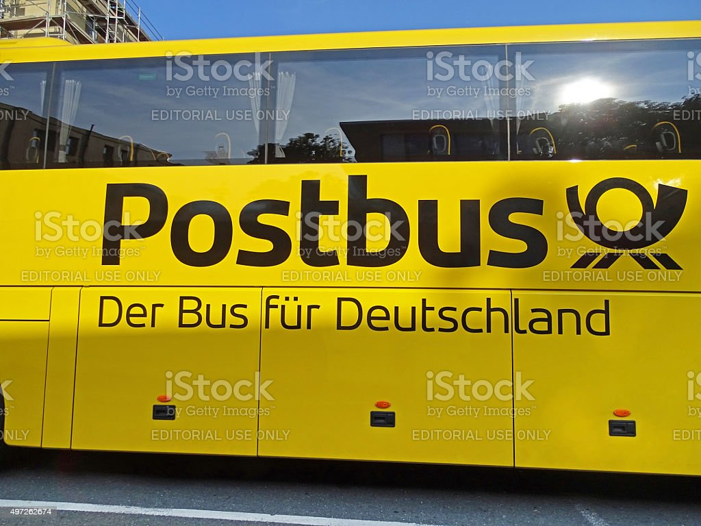 Coach Bus Scania OmniExpress of Postbus in Chemnitz stock photo
