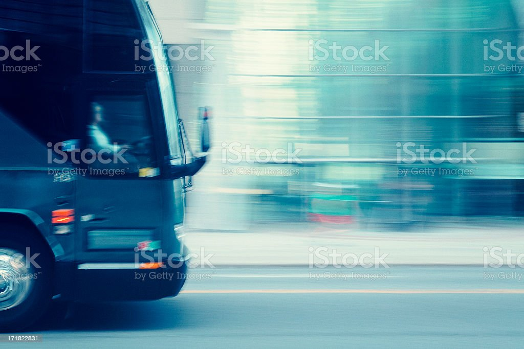 coach bus speeding stock photo