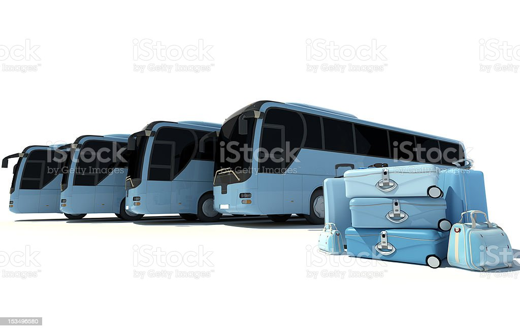 Coach bus travelling stock photo