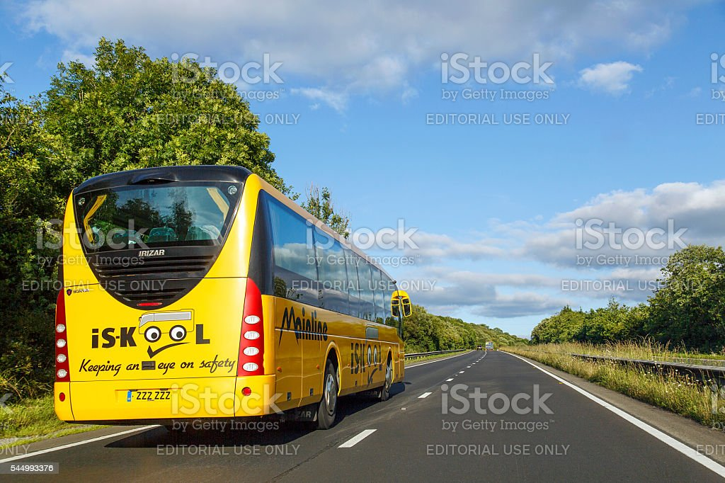 Coach on the Main Road - A477 stock photo