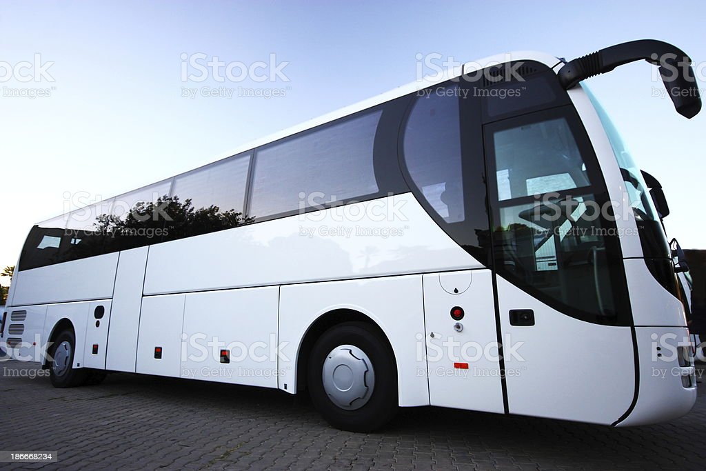 Coach on the road stock photo