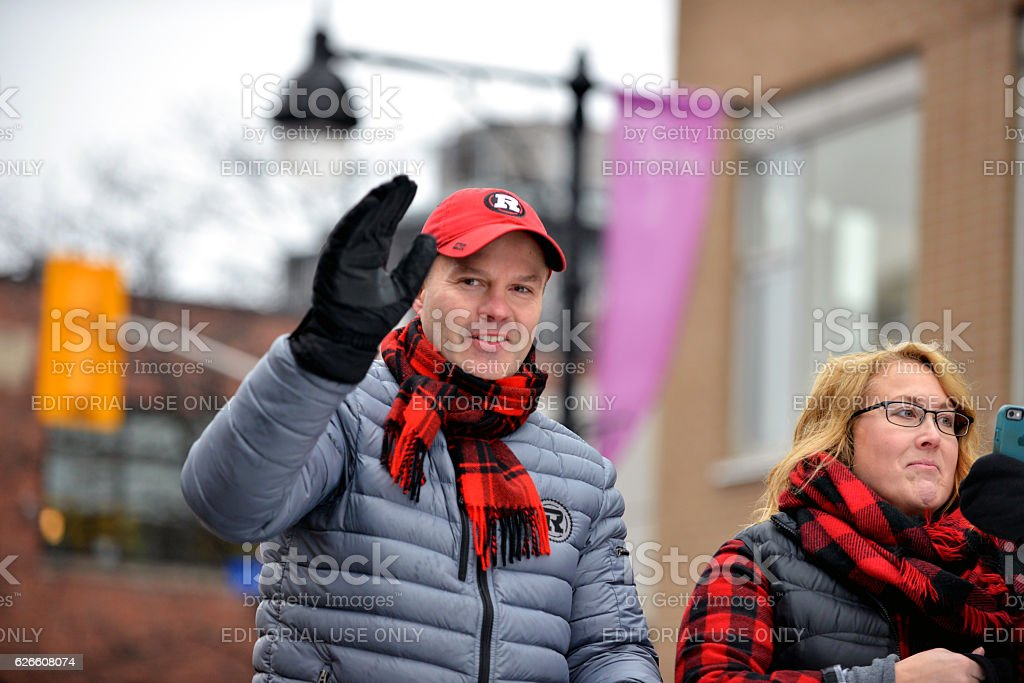 Coach Rick Campbell in Grey Cup Parade stock photo