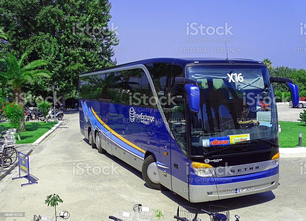Coach Setra S416 HDH as airport shuttle stock photo