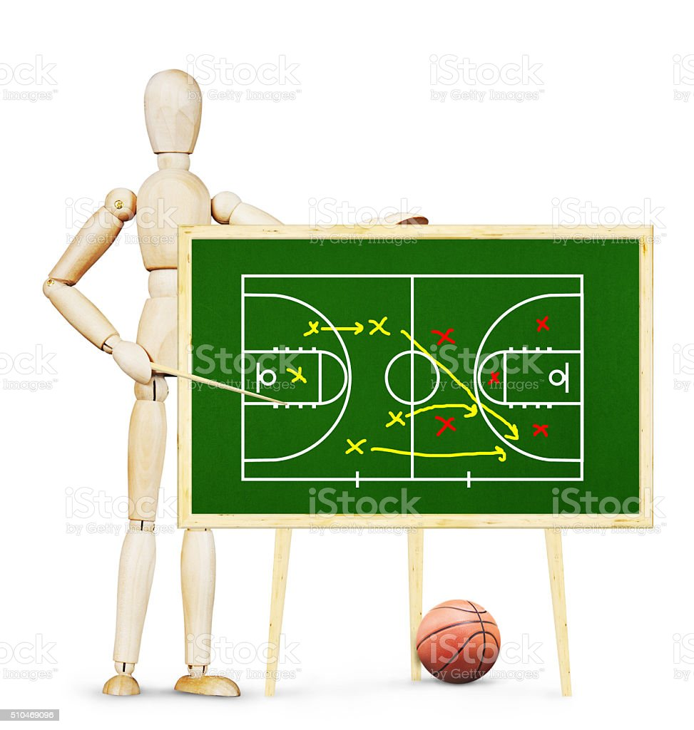 Coach shows plan of basketball game on the green chalkboard stock photo