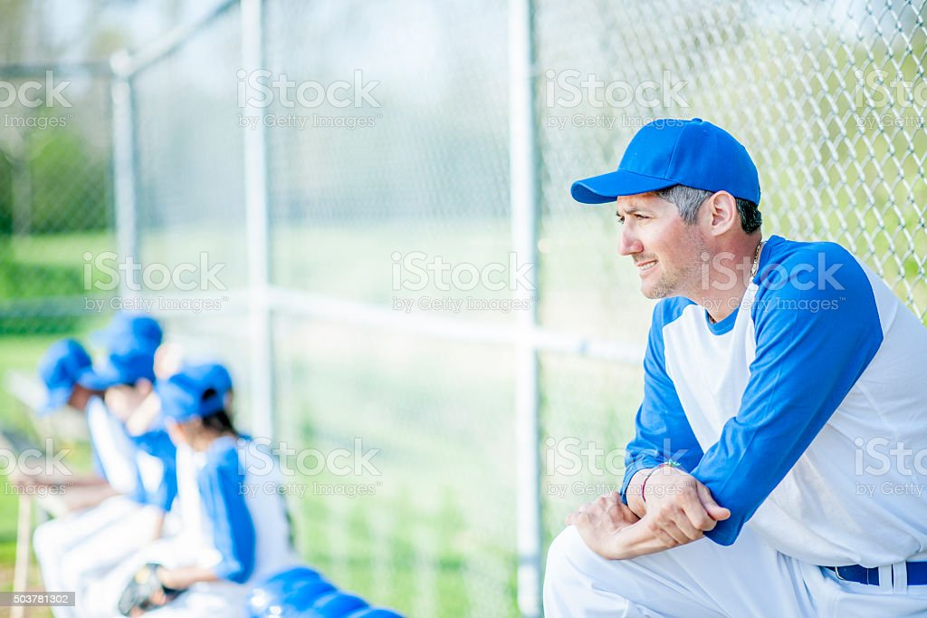 Coach Watching the Batter stock photo