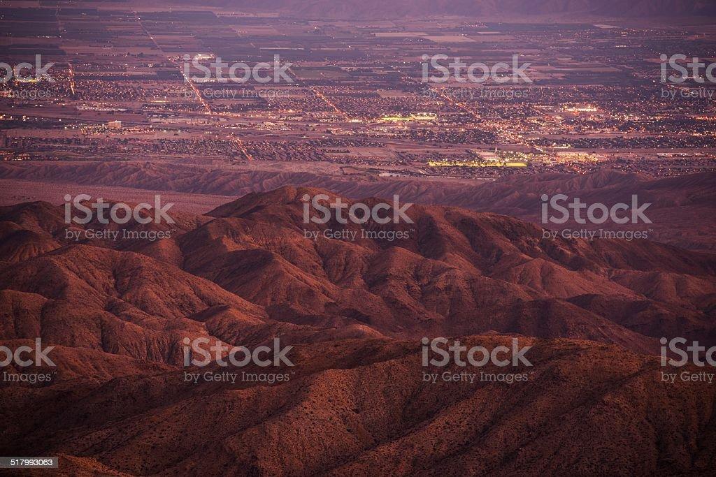 Coachella Valley at Dusk stock photo