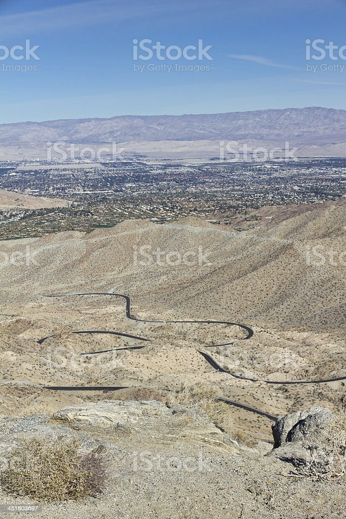 Coachella Valley in California with Palms To Pines Highway stock photo