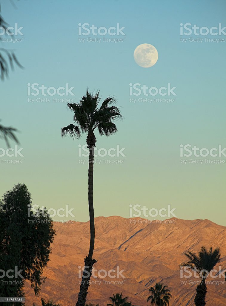 Coachella Valley Sunset and Full Moon Near Palm Springs California stock photo
