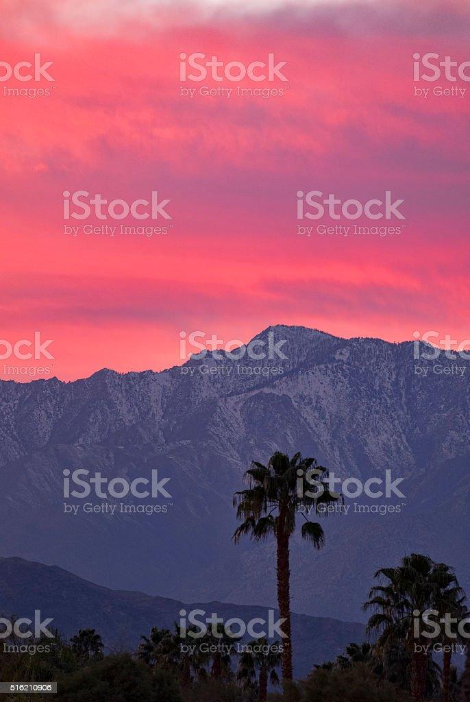 Coachella Valley Sunset Near Palm Springs California stock photo