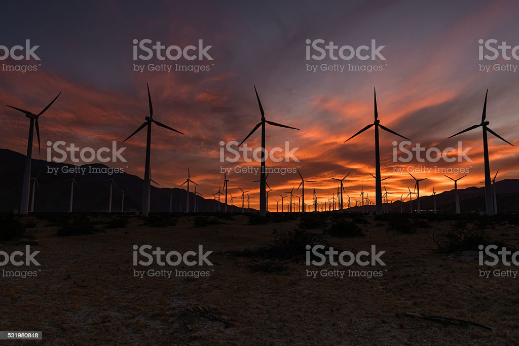 Coachella Valley Wind Turbines stock photo
