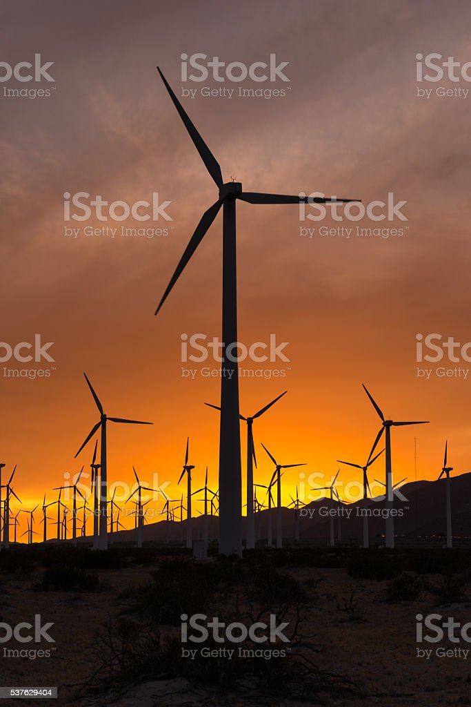 Coachella Valley Wind Turbines stock photo