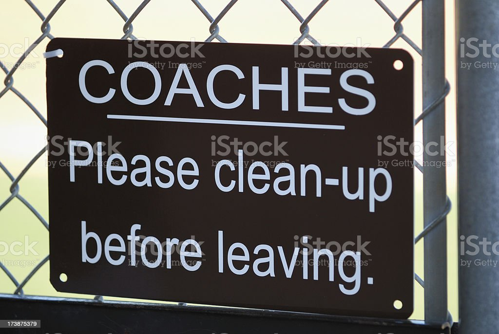Coaches clean up sign royalty-free stock photo