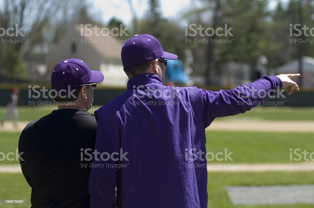 Coaches meeting at the field stock photo