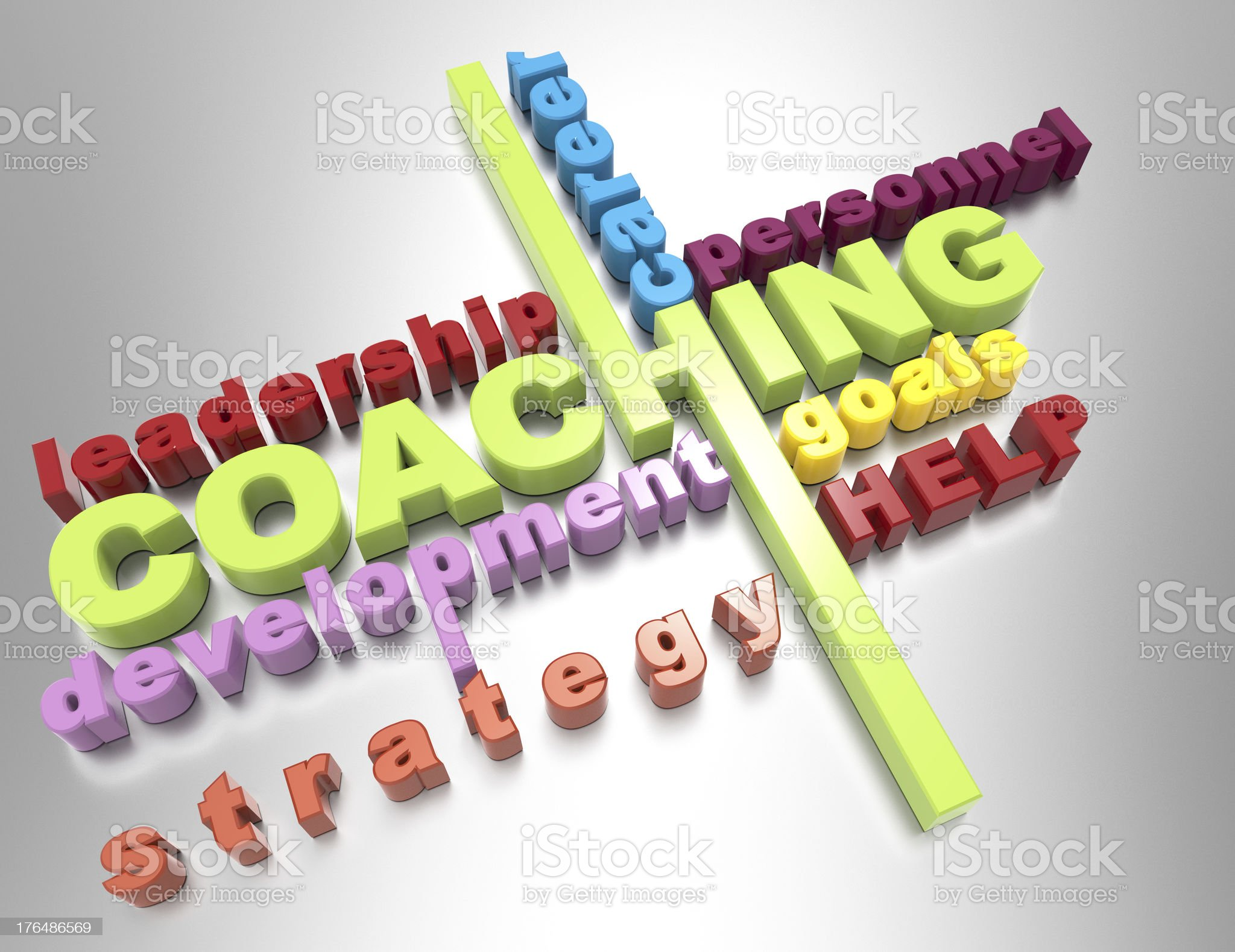 Coaching 3d word royalty-free stock photo