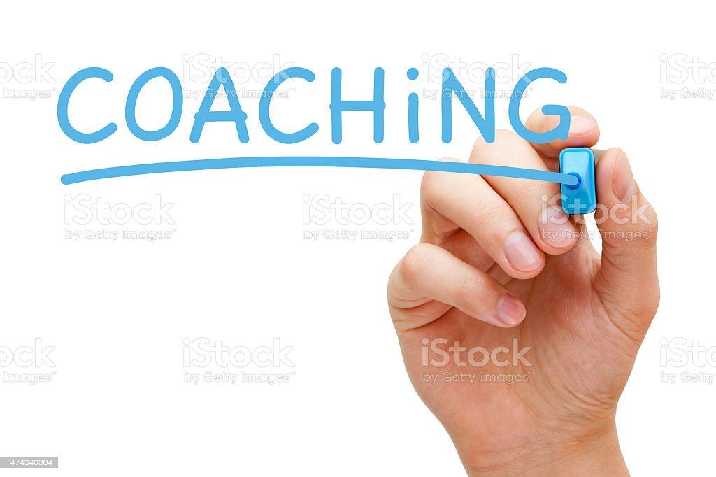 Coaching Blue Marker stock photo