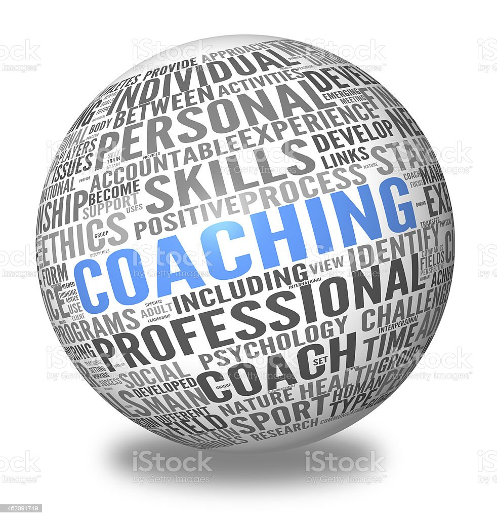 Coaching concept in sphere tag cloud stock photo
