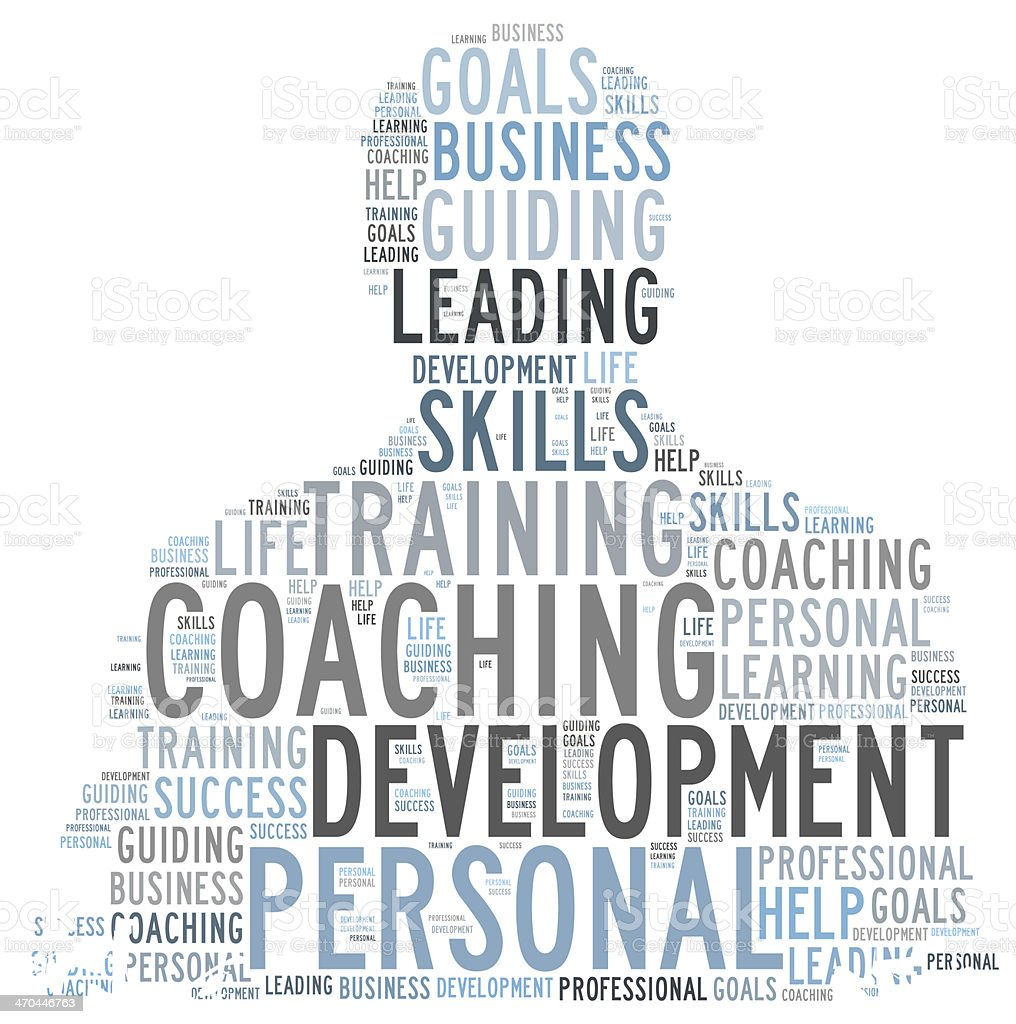 Coaching word cloud shaped as a person stock photo
