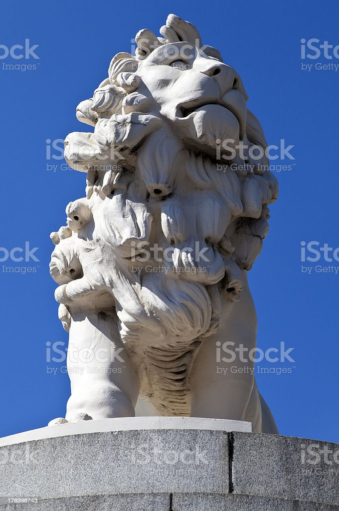 Coade Stone Lion on Westminster Bridge royalty-free stock photo