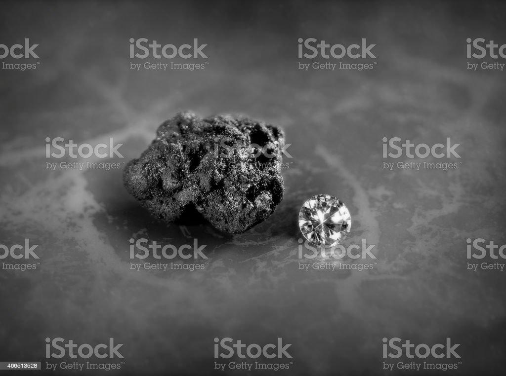 Coal and diamond stock photo