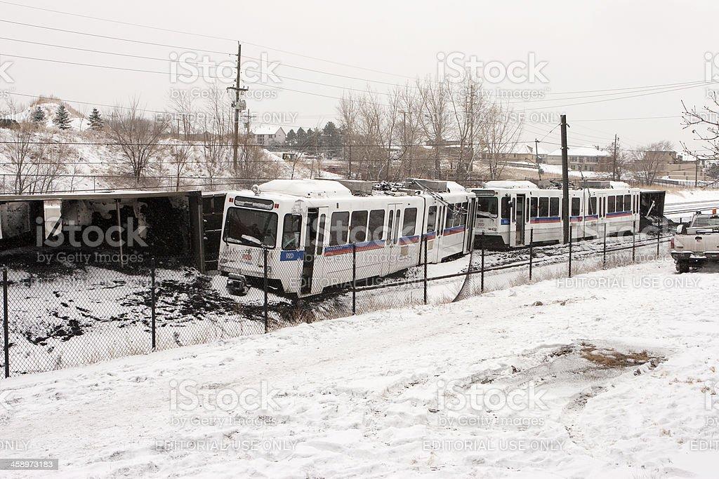 Coal and light rail train crash Littleton Colorado stock photo