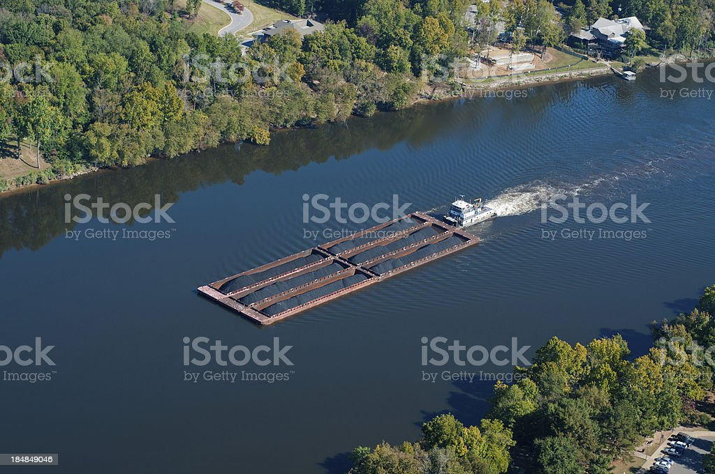 Coal Barge on the Black Warrior River stock photo