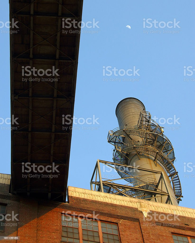 Coal Belt and Smoke Stack stock photo