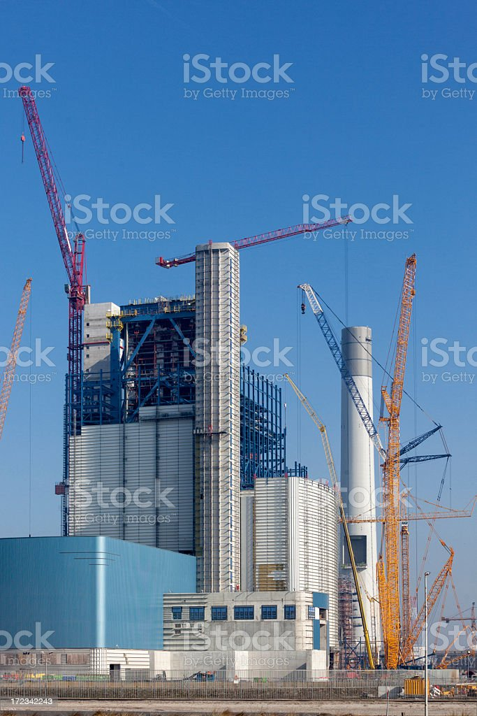 Coal burning energy plant under construction royalty-free stock photo