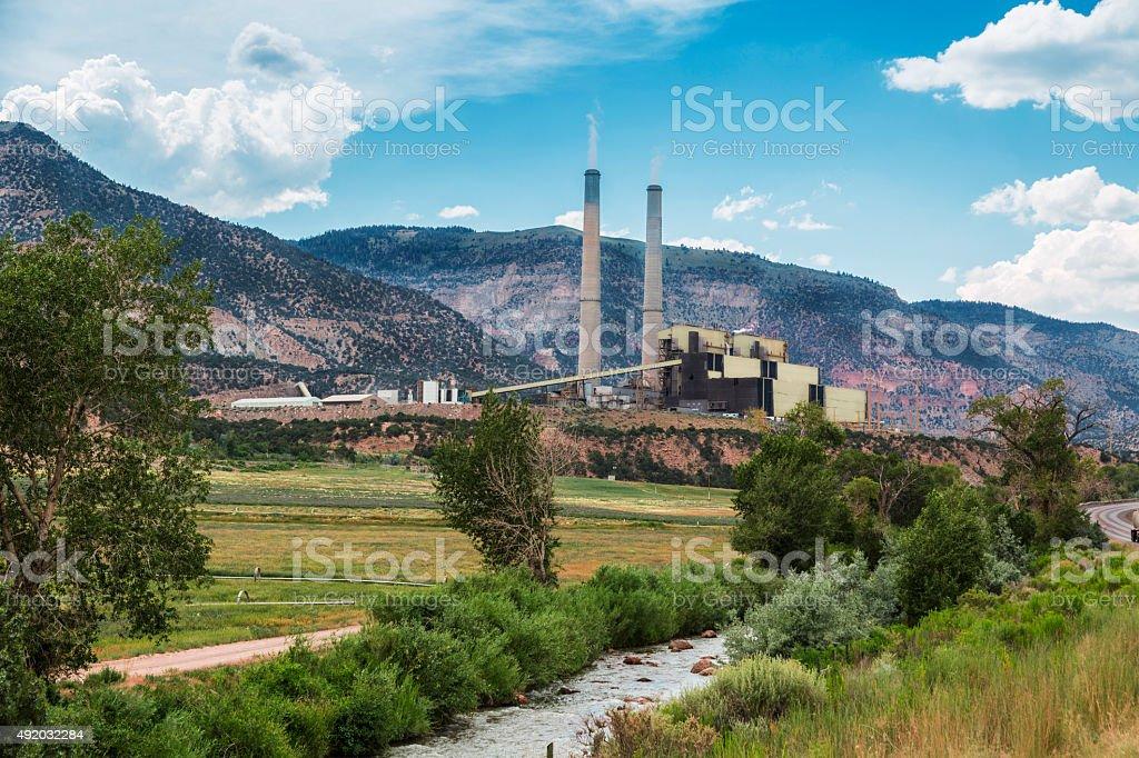 Coal Burning Power Plant in Central Utah stock photo