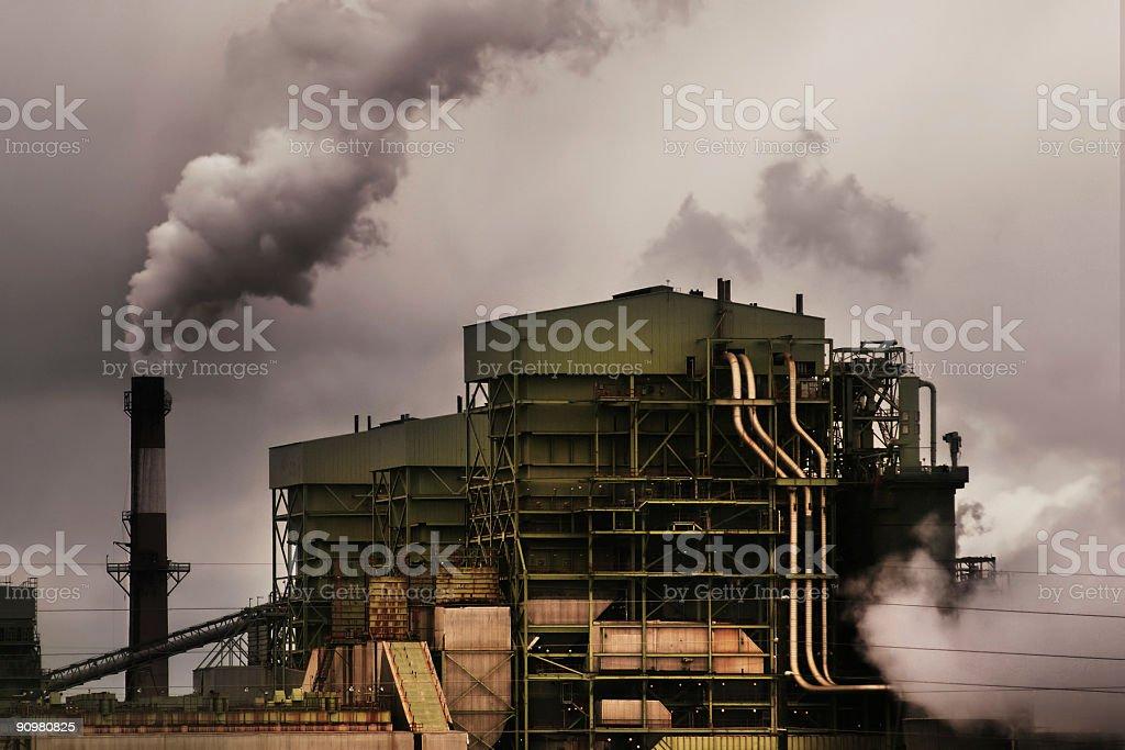 coal burning power plant landscape stock photo
