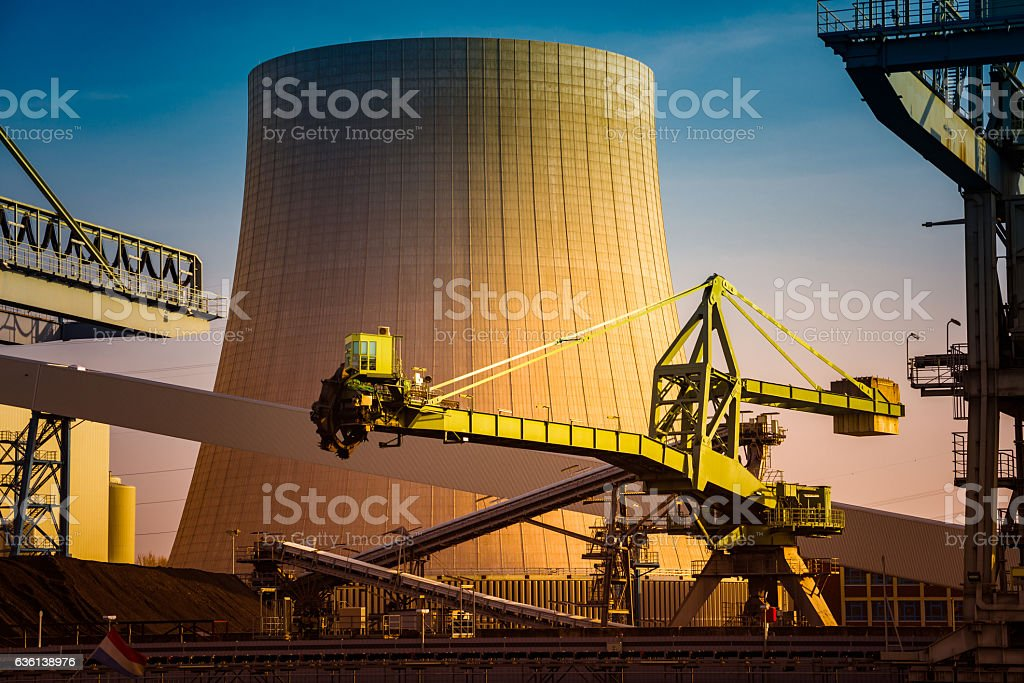 coal digger and cooling tower stock photo