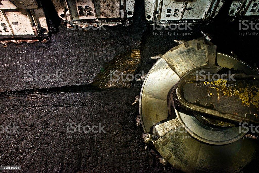 Coal extraction: mine excavator stock photo