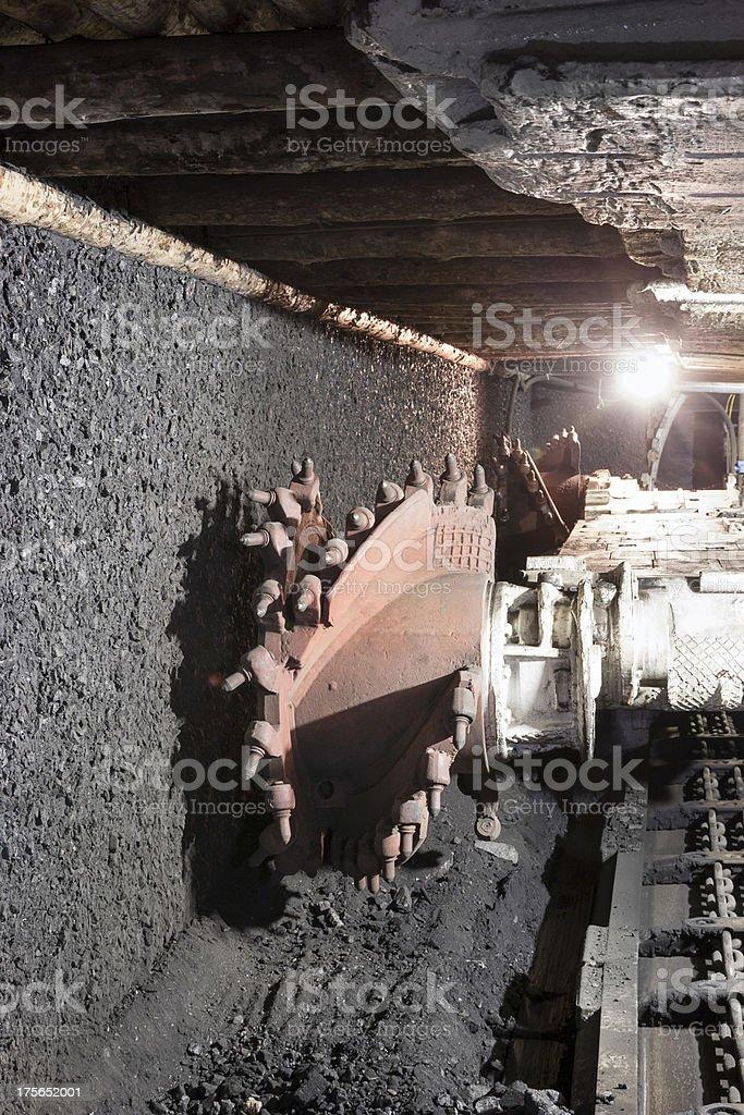 Coal extraction:mine excavator stock photo
